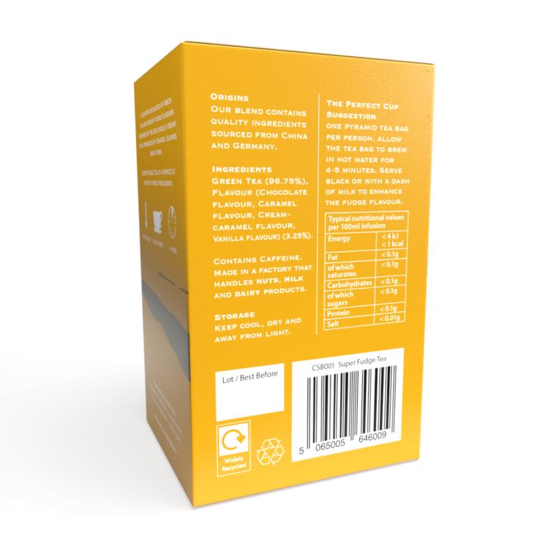 Super Fudge Tea - 20 Biodegradable Pyramid Tea Bags Back